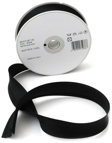 Inastri 25/5/5 mm Azetat-Satin Schrägband, schwarz 2054