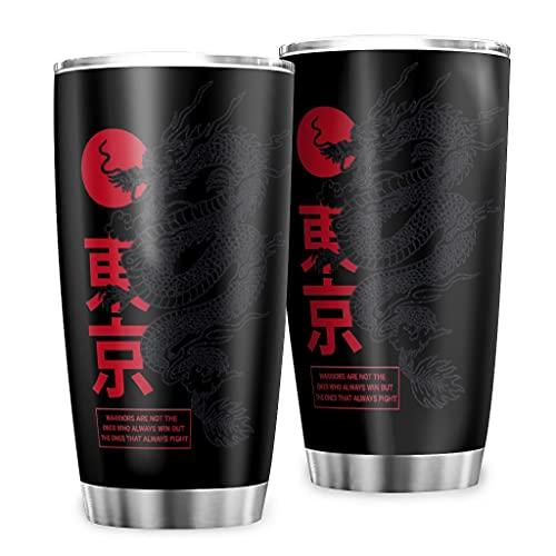 Butterfly Goods Taza de café de agua japonesa Tokyo Dragon de acero inoxidable – Vintage Classic Auto taza con pared duradera para regalos Black 600 ml