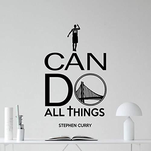 Puedo hacer todas las cosas NBA Basketball Warriors Stephen Curry Citas inspiradoras Etiqueta de la pared Calcomanía de vinilo Fans Dormitorio Sala de estar Club Decoración para el hogar Mural