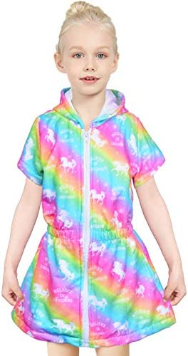 PASHOP Swim Cover Ups for Girls Terry Cover Up Swimwear Unicorn Mermaid Hoodie Zipper Cover product image