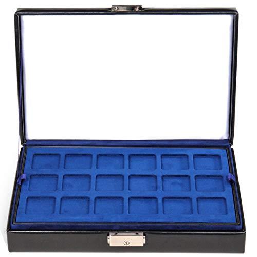 Münz-Etui Münzbox schwarz Sacher Feinsynthetik 3 herausnehmbare Münzeinsätze Münzsammler