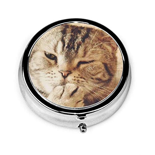 Retro Cat Custom Fashion Silver Round Pill Box Medicine Tablet Holder Wallet Organizer Case For Pocket Or Purse Vitamin Organizer Holder Decorative Box