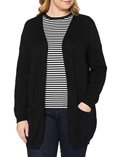 Only Carmakoma Carstone L/S Long Cardigan Noos Chaqueta Punto, Negro, XL para Mujer