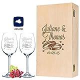 Leonardo Weingläser mit Gravur von Namen & Datum im - Wedding Design - als Geschenk zur Hochzeit, Verlobung oder zum Jahrestag - inkl....