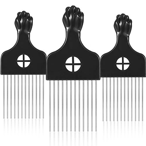 3 Packs Afro Comb Metal Pick Comb Afro Braid Pick Hairdressing Detangle Wig Braid Hair Styling Comb Styling Tool (Square)