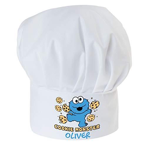 Personalisierte Kochmütze Für Kinder Jungen und Mädchen Weiß Kochhaube mit Ihrem Wunschtext/Grafik Klettverschluss Monster-Cookie mit Namen [099]