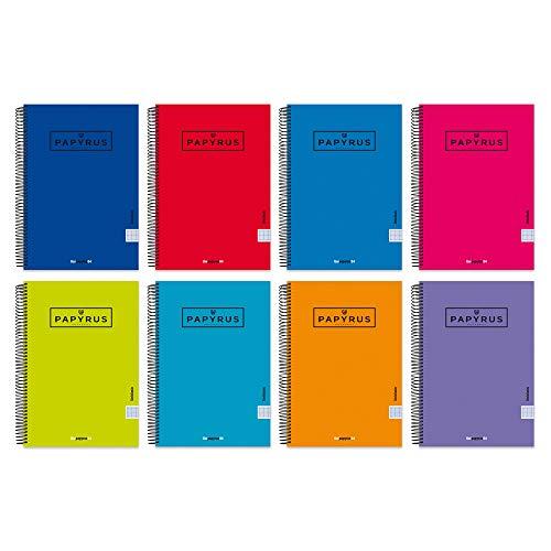 Unipapel 98443097. Pack de 5 Cuadernos con Espiral y Tapa Dura, Pauta 3,5mm, Papyrus 04 - Uniclasic, 80 Hojas, 90 Gramos, Surtido Colores Aleatorios