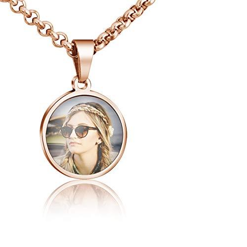 Collar con foto personalizada de joyería, colgante con texto grabado con foto personalizada, collar con foto en color personalizado, collar con colgante de joyería para madre