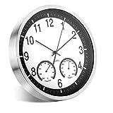 ALEENFOON Reloj de pared de cuarzo de 30 cm, moderno, silencioso, sin tictac, con termómetro, mide la temperatura y la humedad para salón, dormitorio, oficina, cocina, color plateado