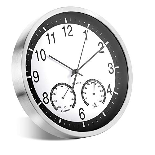 ALEENFOON Orologio da Parete al Quarzo in Metallo, 30 cm, Moderno, Silenzioso, Senza ticchettio, con termometro, Misura Temperatura, umidità, per Soggiorno