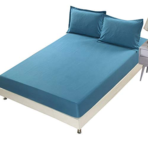 COOLAPA Bed Sheet, Waterproof Mattress Cover, Dustproof Protection Sheet, Breathable Non-slip And Dustproof Bed Sheet, Suitable For Mattresses Below 28 Cm In Height (Color : Blue, Size : 180x220cm)
