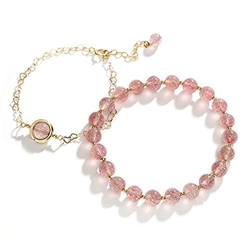 Pulsera doble de cristal de fresa natural, estilo femenino, cristal rosa simple, regalo para novia, moda, atmósfera simple, todo fósforo Aniversario Día de la madre Regalo de cumpleaños de Navidad