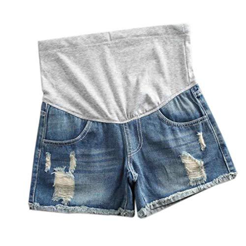 Inlefen Mujer Shorts de Mezclilla de Maternidad Jean Shorts de salón El Embarazo Corto Pantalones Ajustable Over Bump Pantalones Vaqueros