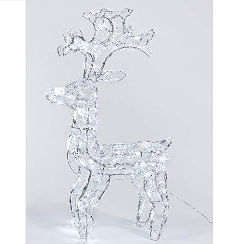 Moranduzzo Renna Rudolph Luminosa 80 LED Super Brillante 66Cm Diamanti Per Uso Esterno, Bianco Trasparente, 66 Cm