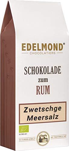 Schokolade zum Rum. Zwetschge & Meersalz handwerklich gewalzt von Edelmond. Passend zur hochwertigen Spirituose