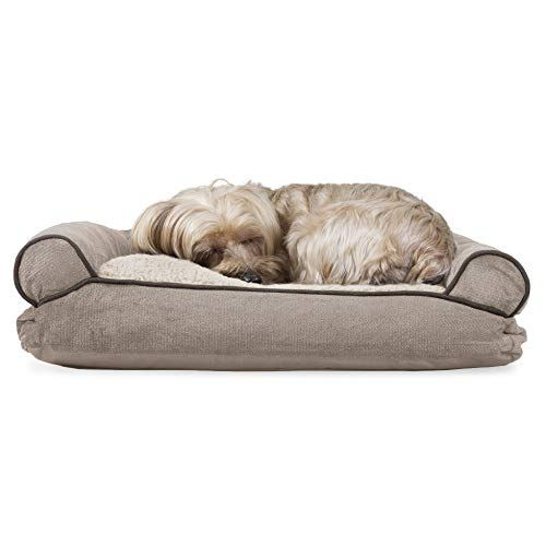 Furhaven Pet Dog Bed - Faux Fleece and Chenille Soft Woven Pillow Cushion Traditional Sofa-Style Living Room Couch Pet Bed with Removable Cover for Dogs and Cats, Cream, Small