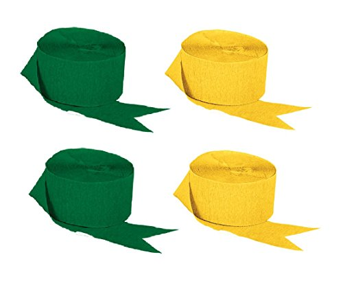 Green and Gold Yellow Crepe Paper Streamers (2 Rolls Each Color), 290 Feet Total, Made in USA