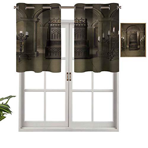 Cortinas opacas con cenefas antirayos UV, diseño de trono real en castillo medieval, Renaissance Kingdom Heritage Retro Foto, juego de 2, 137 x 91 cm para interior comedor o dormitorio