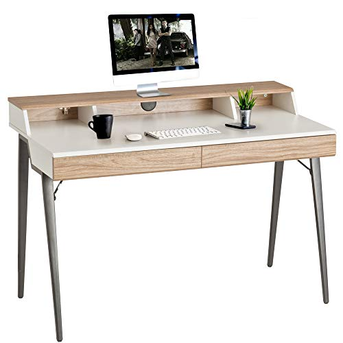 """Dporticus 47"""" Computer Desk with Drawers & Storage Bookshelves Wood Table Workstation Writing,Study,Gaming Table for Home Office,Metal Leg,Oak and White"""