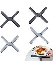 EXLECO 4 stycken silikongrytunderlägg värmetåliga, kastrullunderlägg gångjärnsförsegling, grytlappar värmeskydd, varm kastrullhållare, underlägg för krukor, varma stekpannor, skålar (svart + grå)