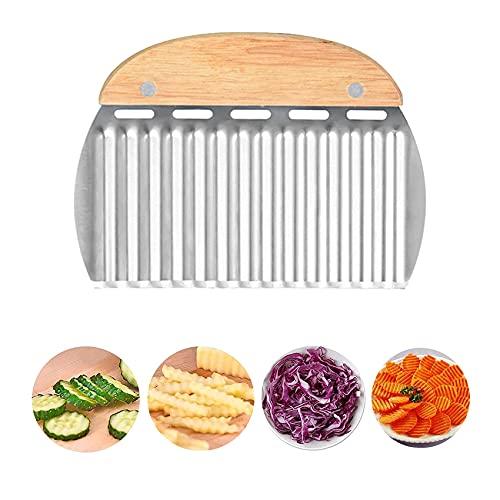 Rpanle Taglia Verdura, Coltello Ondulato in Acciaio Inossidabile, per Tagliare Patate, Patate Dolci, Frutta o Verdura, ecc.