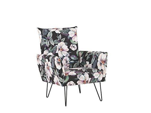 Beliani Moderner Sessel schwarzer Polsterbezug mit Blumenmuster Ribe