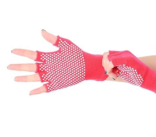 Antideslizante Guantes de yoga profesional for mujer gimnasio pesas entrenamiento deportivo Guantes de Pilates yoga de la aptitud Media mujer de algodón manoplas ( Color : Rose Red , Size : One Size )