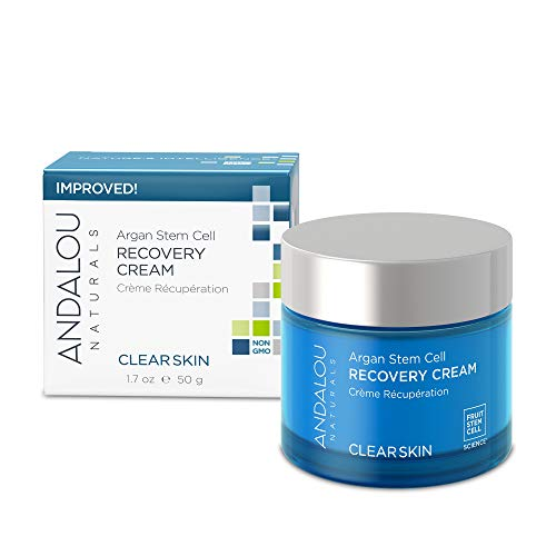 Andalou Naturals Argan Stem Cell Recovery Cream oz For Oily or Overreactive Skin Helps Clarify Cleanse Pores for Glowing Skin, Aloe Vera, 1.7 Ounce