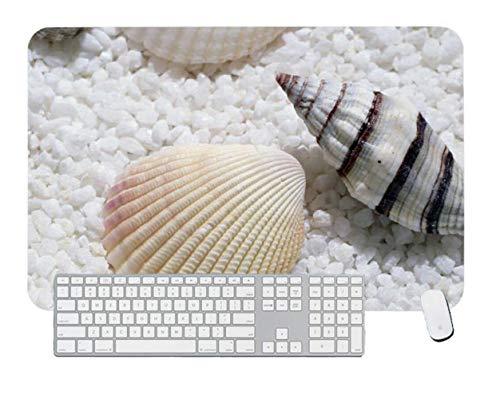 Alfombrilla de ratón para juegos de color blanco con una concha de mar y carcasa para computadora y portátil, 1 paquete de 700 x 400 x 3 mm, 27,5 x 15,7 x 1,1 pulgadas