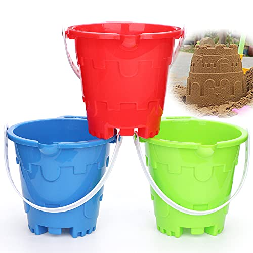 """Jumbo Thick Castle Model Beach Buckets Gear Set 7"""" Large Sand Strong Pails Bucket Water Pool Gift For Kids Boys Girls Gardening Bath Toy Environmentally ABS Durable Sandbox- 3 Pack Green Blue Red"""