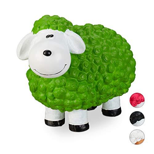 Relaxdays XXL Gartenfigur Schaf, Tierfigur, wetterfest, handbemalte Gartendeko, innen & außen, Keramik, 44 cm, grün
