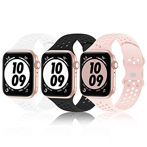 Bandiction 3-Pack Sport Band Compatible with Apple Watch Bands 38mm 40mm 42mm 44mm for Men Women,Silicone wristbands strap Replacment for iwatch SE/Series 6/5/4/3/2/1