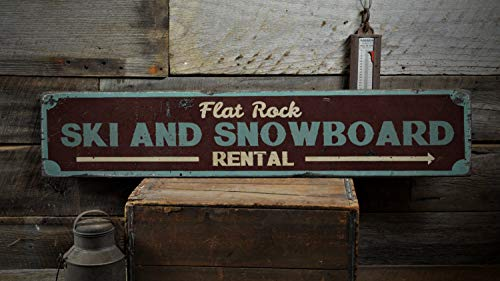 Ced454sy Holzschild, Ski- und Snowboard-Verleihung, personalisierbar, ideales Geschenk, rustikales Vintage-Holzschild