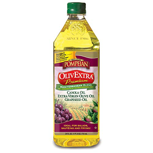 Pompeian OlivExtra Premium Mediterranean Blend, with Canola Oil, Extra Virgin Olive Oil, Grapeseed Oil, Perfect for High-Heat Cooking, Naturally Gluten Free, Non-Allergenic, 24 FL. OZ., Pack of 6