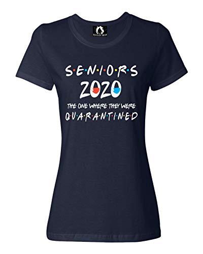 Squatch King Threads Medium Navy Womens Seniors 2020 The One Where They were Quarantined T-Shirt