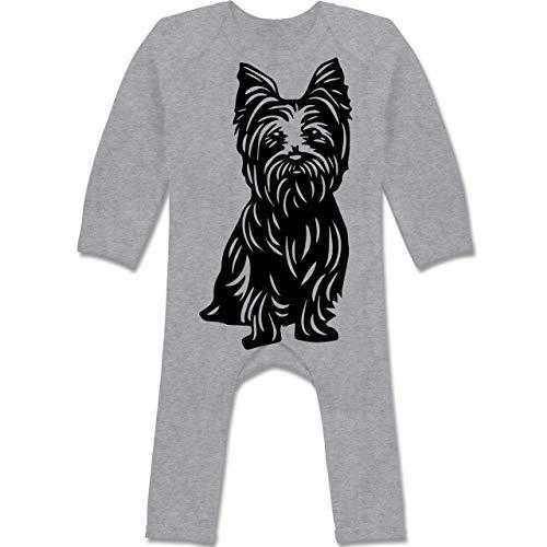 Shirtracer Tiermotive Baby - Yorkshire Terrier - 3/6 Monate - Grau meliert - verspielt - BZ13 - Baby-Body Langarm für Jungen und Mädchen