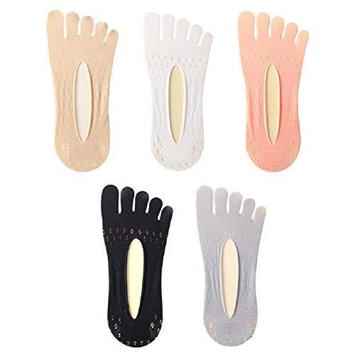 QYHT 5 Paires de Chaussettes de Compression, Chaussettes à Bouts en Velours pour Femmes, Chaussettes antidérapantes Respirantes à Cinq Doigts (Multicolore)