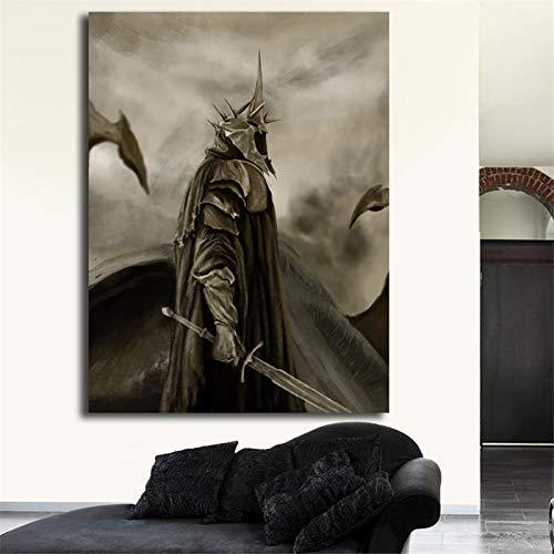 ESDLA Rey Brujo de Angmar El Señor de los Anillos Arte del cartel pared de la pintura Imagen impresión moderna decoración del dormitorio principal ilustraciones Mural, Lienzo