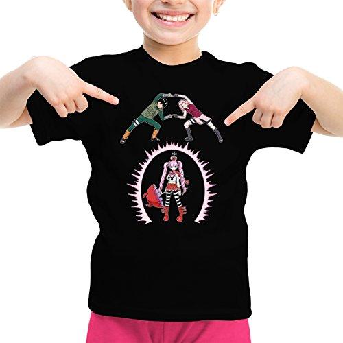 T-Shirt Enfant Fille Noir Naruto - One Piece parodique Sakura, Rock Lee et Perona : Fusion No Jutsu !! (Parodie Naruto - One Piece)