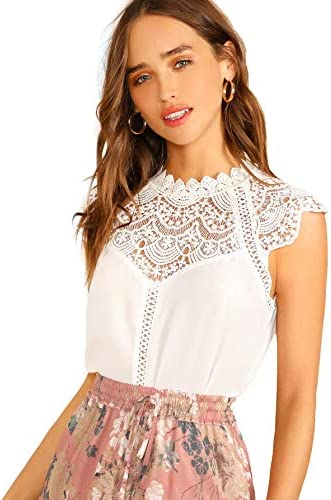 SheIn Women s Elegant Sleeveless Contrast Lace Chiffon Blouses Tops Snow White Medium product image