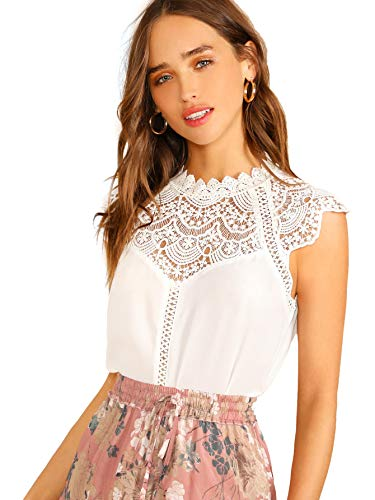 SheIn Women's Elegant Sleeveless Contrast Lace Chiffon Blouses Tops Pure White -
