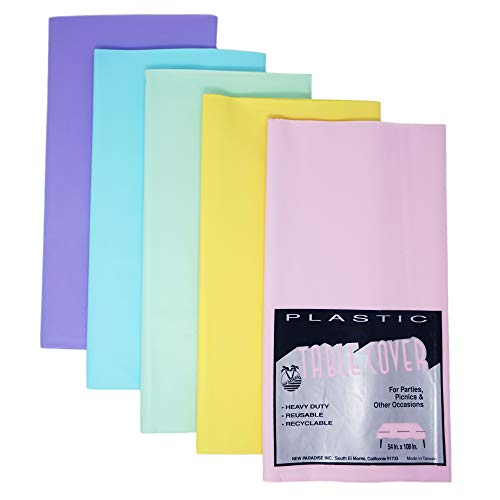 Heavy Duty Plastic Disposable & Reusable Table Covers, Rectangular Size 54' x 108' (Pack of 5) - Pastel Rainbow Combo Pack