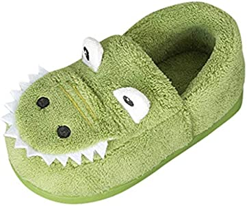 Lindas Zapatillas de Dibujos Animados para Niños Pequeños TOPKEAL Antideslizante Zapatos Algodón de Casa Cálida Verde