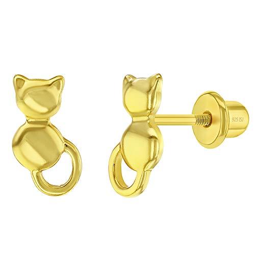 Boucles d'oreilles en argent sterling 925 avec fermoir à vis pour filles ou adolescentes