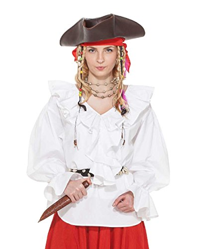 Pirate Renaissance Medieval Wench Womens Costume Helen Ramsay Blouse [White] (Large)