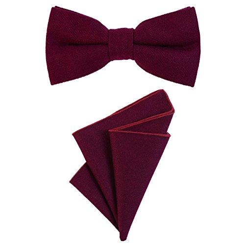 DonDon Herren Fliege 12 x 6 cm gebunden längenverstellbar und Einstecktuch 23 x 23 cm farblich passend aus Baumwolle beere