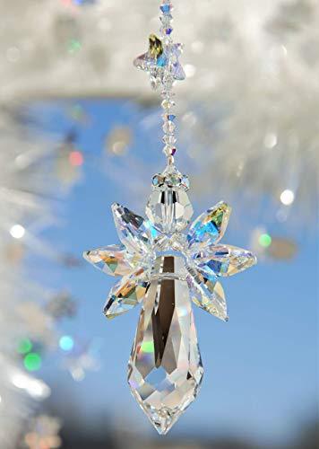 Schutzengel in crystal AB mit Sternchen – handgearbeitet aus Kristallen von Swarovski®