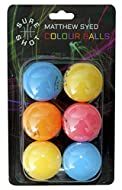 Sure Shot Matthew Syed 40+ Plastic Coloured Table Tennis Balls, Pack of 6