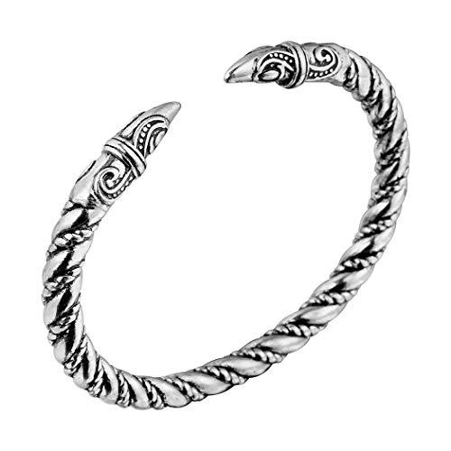 Wikinger Drachenkopf Armreif, AILUOR Einzigartiges Design Drachen Herren Armband Edelstahl Verdrehten Stahlkabel Armreif Keltischer Knoten Manschette - Elastische Verstellbare (Silber-2)