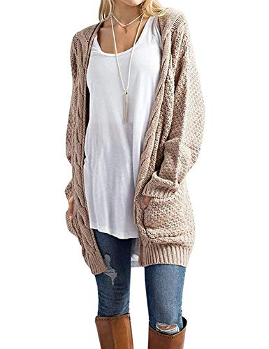 GRECERELLE Women's Loose Open Front Long Sleeve Solid Color Knit Cardigans Sweater Blouses with Packets Khaki-Medium
